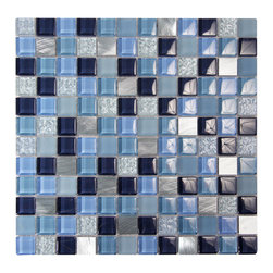 Confections Sea Taffy Glass Mosaic - A fun combination of blues for that clean, crisp and cooling effect perfect for a shower.