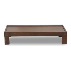 Bryght - Evan Cocoa Wood Coffee Table - The Evan coffee table displays a unique disposition with its sturdy chunky legs and slightly slanted raised wood edging. A handsome piece that is sure to sit well in cozy or formal settings alike.