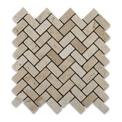 Ivory Travertine Tumbled Herringbone Mosaic Tile - I like this tumbled stone product. The stones have a very traditional look, but the herringbone pattern gives it a little more design value.