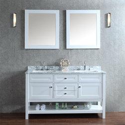Ariel - Mayfield 60-inch Double-sink Bathroom Vanity Set - Enjoy the luxury of two beautiful sinks in your chic bathroom vanity.