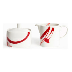 Red Vanilla - Red Vanilla Paint it Red Creamer and Sugar Set - This black and white creamer and sugar set is composed of ultrafine durable china and is dishwasher safe. The sugar bowl has a unique square shape and a convenient lid while the creamer container has a complementing shape with an open top.