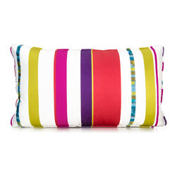 "Pyar&Co - Chikoo, Purple Back, 12"" x 20"" - Like Veruca Salt, you'll want your candy now! Add sweet color and pattern to your sofa, bed or bench with this pillow. It features candy-colored and white stripes, corded piping and a back of luscious velvet so you can indulge and spoil yourself."