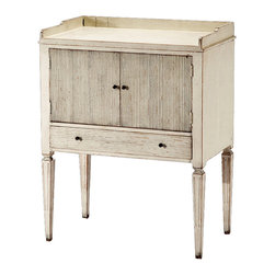 Kathy Kuo Home - Lorelei Spindle Leg French Country White Wash Side Table - Sleek and stately, this charming table comes in a sophisticated wash and will add elegance to your decor. This versatile table would work well as a lovely nightstand in a French Country style bedroom, or as an end table in a vintage-inspired living room.