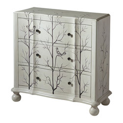 None - Beatrice Winter White Wood 3-drawer Accent Chest - The charming Beatrice chest features a sculpted front shape and hand painted aviary scene painted on a white finish that gives it a natural appeal. Made from wood,this chest has three roomy drawers to store your personal items and keep them organized.