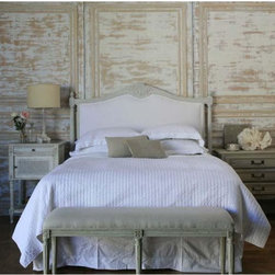 Eloquence - Eloquence Upholstered Headboard - Oyster - Reproduction Louis XVI Style Queen Upholstered Headboard, hand carved in Beech wood & with Oyster finish. Available in King size as well.