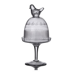 "Home Essentials - Glass Bird Footed Cup Cake Stand - A sculptured bird tops this glass dessert stand, elevating the graceful display. This cloche on pedestal base is perfect for presenting and preserving the candy, individual dessert, cakes at the next birthday party, wedding event or any special occasion.  * Dimension: 10"" tall, 4.7"" Diameter"