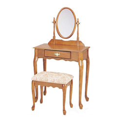 "Adarn Inc. - Queen Anne 3 PC Vanity Set Oval Swivel Mirror Cream Upholstered Bench, Oak - Subtle curves in beautiful natural oak / cherry give this fabulous Queen Anne Oak 3 PC Vanity Set an air of old world class. With a generous top surface to place small essentials and a lower drawer for additional storage of make-up and hair care products, this vanity set will be a wonderful addition. And oval swivel mirror will just add depth to your room, helping you get ready for your day. Table: 29""X18""X49""H, Seat: 18""X14""X16""H"