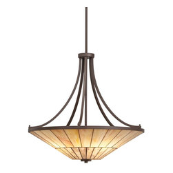 TIFFANY - TIFFANY Morton Tiffany Inverted Pendant Light X-55356 - The neutral colors in this traditional craftsmen style Tiffany pendant light add warmth and charm regardless if the fixture is illuminated or not. There is a counterbalance between the square accents and circular shades that creates a true Arts & Crafts inspired collection. The stunning art glass and cut stone make the Morton Collection so unique.