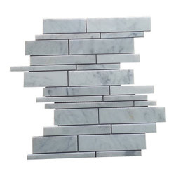 Tiles R Us - Carrara White Marble Polished Random Strip Mosaic Tile , 1 Sq. Ft. - Premium Italian Carrara White Marble Polished Random Strip Mosaic Tile