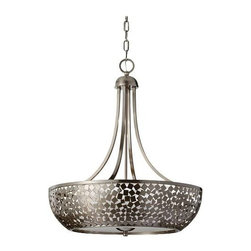 """Murray Feiss - Murray Feiss F2745-4BS Zara 28-3/16"""" 4 Light Chandelier in Brushed Steel F2745-4 - Zara 28-3 16"""" 4 Light Chandelier.Lamping: 4- Edison 60 WattBulb Included: No Bulb Type: Incandescent Canopy Diameter: 7 8 Canopy Height: 5-1 8 Collection: Zara Finish: Brushed Steel Height: 28-3 16 Number of Lights: 4 Safety Rating: cUL Dry Shade Height: 6-1 4 Shade Length: 15-7 8 Shade Glass: Silver Organza Diffuser Type: Non Crystal Chandeliers Voltage: 120 Wattage: 240 Width: 24-1 4"""