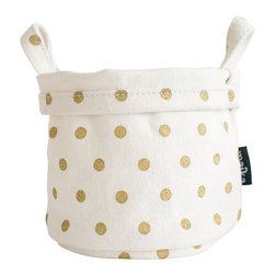 MAIKA - Recycled Canvas Bucket, Dots Gold, Gold, Small - AS SEEN ON THE TODAY SHOW