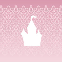 Homeworks Etc - Homeworks Etc White Castle Pink Damask Canvas Wall Art - Enjoy this pretty princess girls canvas wall art depicting a white castle against a pink damask background.  Makes a great baby shower or birthday gift! It's lightweight design is easy to hang.  Finished pink edge with no framing required.  Canvas stretched over a wooden frame.  Measures 10 x 10 x 1.5-inches.  Perfect for use in  a children's bedroom.