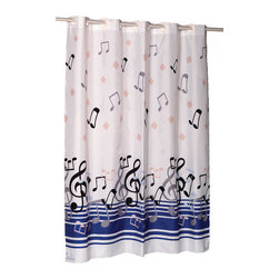 """EZ-ON """"Blue Note"""" Polyester Shower Curtain - """"Ez On"""" Fabric shower curtain with built in shower curtain hooks:  size 70"""" wide x 72"""" long; pattern name """"Blue Note"""". Our """"Blue Note"""" EZ-ON Shower Curtain (standard size 70'' wide x 75'' long) will leave you singing each time you shower. Using patented Hookless technology, our EZ-ON curtains come with built in flat top rings that simply snap on to your existing shower curtain rod--pesky hooks no longer required. Additionally, this 100% polyester curtain resists water and is machine washable. """"Blue Note"""" is available in extra long, extra wide, and shower stall sizes.   Machine wash in warm water, tumble dry, low, light iron as needed"""