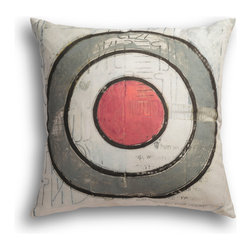 "Carrier Collective - ""Grey Sun"" Decorative Pillow - Crafted of linen/cotton fabrics, Carrier Collective Art Pillows are created from the original Mixed Media and Acrylic Paintings of the artist/owner Angie Carrier."