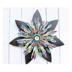 Souvenir Farm, Ltd. - Boho Chic Emerald Green & Black Flower- Boho Wall Decor - Mardi Gras - Black flower petals are a subtle backdrop to a bright metal flower center filled with emerald green, orange, purple and bronze, for this boho chic door wreath inspired by the vibrant colors of Mardi Gras.