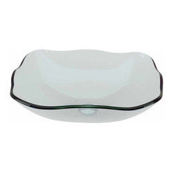 Renovators Supply - Vessel Sinks Clear Glass Green Tint Havasu 8 Petal Rect Sink | 12958 - Glass Vessel Sinks: Single Layer Tempered glass sinks are five times stronger than glass, 1/2 inch thick, withstand up to 350 F degrees, can resist moderate to high degrees of impact and are stain-proof. Ready to install this package includes FREE 100% solid brass chrome-plated pop-up drain, FREE machined 100% solid brass chrome-plated mounting ring and silicone gasket. HAVASU clear has a slight natural green tint. Measures 20 1/2 inch L x 15 inch W x 5 1/2 inch deep x 1/2 inch thick.