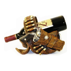 PS - 9 x 6.5 Inch Pistol with Holster and Bullets Wine Bottle Holder - This gorgeous 9 x 6.5 Inch Pistol with Holster and Bullets Wine Bottle Holder has the finest details and highest quality you will find anywhere! 9 x 6.5 Inch Pistol with Holster and Bullets Wine Bottle Holder is truly remarkable.