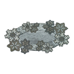 Beaded Snowflake Table Art Runner - Handcrafted by master artisans, the delicate beading on this table runner will bring you the awe akin to watching snow fall slowly at night. The metallic colors of silver, pewter and white add a bit of shine to your table, and the exceptional shape truly dazzles.