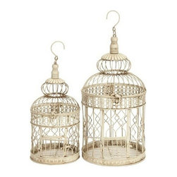 "Benzara - Set of 2 White Metal Round Parakeet Birds Cages 22"" - Set of 2 White Metal Round Parakeet Birds Cages 22"". Dome shape birds cages are made from cold cast solid metal. This set include two bird cages. Hook attached for easy hanging on the roof. Dimension: Tall Bird cage 22""H x 10""W X 10""D and Small Bird cage is 18""H X 8""W X 8""D."