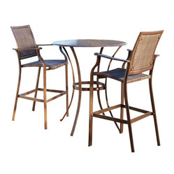 Panama Jack Island Cove Woven 3 Piece Pub Table Set