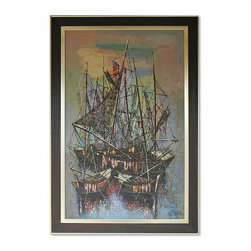 "Yemen Fishing Harbor Wall Art - Large and dynamic oil seascape of crowded harbor with docked for the night fishermen boats.  The artwork features strong graphic elements and textured brushtrokes. Signed     ""Lik Virgir"" lower right. Displayed in wood frame."