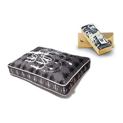 P.L.A.Y. - P.L.A.Y. Chandelier Rectangular Bed Cover Ivory Black/White Medium - This P.L.A.Y Chandelier Rectangular Bed Cover offers luxury within your home for your pets. The design not only goes well with your home decor, but the distinctive look will add a lot of value to your home. The design is not repetitive which give the bed unique features and properties, and the bed is made from 100% natural cotton which is completely allergy free ensuring the highest of quality standards. 'I was looking for a distinctive, slightly high-brow look. What better than a chandelier silhouette on top of a classic background?' -P.L.A.Y. Artist Dave Collins Designed for the Chandelier rectangular bed. Chandelier dog bed cover artwork created exclusively for P.L.A.Y. by dog-lover David Collins. Non-repeating design makes your pet feel super-special and shows off your unique fashion sense. Looks great in living room, family room or SUV. 100% natural cotton covering is soft, breathable and allergy-free. Furniture-grade craftsmanship and even-basting stitching ensures dog-years of use. Custom-made P.L.A.Y. zipper makes it easy to slip cover off for washing or replacement for a new style. Made in a facility that meets the strict quality standards for infant and children products. Momo-approved and tested by her four-legged friends.
