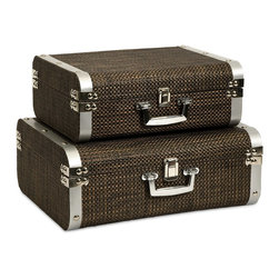 Imax - iMax Curry Storage Suitcases with Stainless Steel Trim - Set of 2 X-2-90147 - This set of two classic and sophisticated storage cases is covered in a woven chocolate toned cover and features stainless steel trim.
