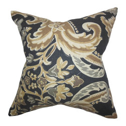"""The Pillow Collection - Kiriah Floral Pillow Mahogany - Dark and appealing, this well-crafted decor piece is perfect for your home. This throw pillow features an eccentric floral pattern in shades of brown, gray,white and black. Mix and match this 18"""" pillow with solids and other patterns for a unique look. Crafted using 100% durable and soft linen fabric. Hidden zipper closure for easy cover removal.  Knife edge finish on all four sides.  Reversible pillow with the same fabric on the back side.  Spot cleaning suggested."""