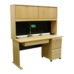 """Rush Furniture - Modular Real Oak Wood Veneer 60"""" W Panel Office Computer Desk Suite I - Features: -Panel office desk suite I. -Modular Real Oak Wood Veneer collection. -Real wood veneers. -Hutch design incorporates modesty panel and enables space maximization. -File drawer area accommodates standard and legal paper. -File cabinet rides on casters for convenient mobility. -Commercial quality manufacture. -Finished on all sides. -Comes ready to assemble. -Comes with 5-year warranty against manufacturer defects. Specifications: -Desk dimensions: 29.5"""" H x 60"""" W x 24"""" D. -Hutch dimensions: 36"""" H x 60"""" W x 12"""" D. -Drawer kit dimensions: 4.88"""" H x 30.81"""" W x 18.12"""" D. -2-Drawer file dimensions: 28"""" H x 15.88"""" W x 19.5"""" D. Purchased on its own or in multiples, this comprehensive desk setup offers excellent versatility. We have matched a substantial 4-door hutch and 2-drawer mobile file with the Veneer Office 60"""" desk model and included a pull-out center drawer for workspace organization and convenience. Each of the Veneer Office pieces is furnished consistently in beautiful American oak veneer and designed with a """"modular"""" arrangement in mind for convenient mixing and matching. What this means for our customers is a stylish selection of furnishing elements that will enable your home office or corporate site to achieve its functional best. Each piece is furnished with thick plain-sliced panels that are UV-cured and multi-coat finished, both front and back, to create a balanced and chip resistant board that is more stable and won't bow in extreme temperatures or moist environments."""