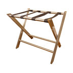 "Welcome Home Accents - Contemporary Luggage Rack - ""This Contemporary Luggage Rack captures modern style perfectly!  The metal design includes squared legs and an ultra chic brushed nickel finish on the whole piece, a welcomed addition to any guest room.  Use this metal luggage rack in the bedroom, guest quarters or office when your guests are in town to provide them with an easily-accessible place to rest their suitcase, and when they are gone, simply fold it up and store it in the closet!"""