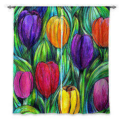 """DiaNoche Designs - Window Curtains Unlined - Maeve Wright Tulip Patch - Purchasing window curtains just got easier and better! Create a designer look to any of your living spaces with our decorative and unique """"Unlined Window Curtains."""" Perfect for the living room, dining room or bedroom, these artistic curtains are an easy and inexpensive way to add color and style when decorating your home.  This is a tight woven poly material that filters outside light and creates a privacy barrier.  Each package includes two easy-to-hang, 3 inch diameter pole-pocket curtain panels.  The width listed is the total measurement of the two panels.  Curtain rod sold separately. Easy care, machine wash cold, tumbles dry low, iron low if needed.  Made in USA and Imported."""