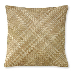 Woven Leather Hide Pillow Cover - Handwoven cowhide creates amazing texture and soft, natural shifts of color that give our pillow cover uncommon style. Two sizes offer great layering potential.