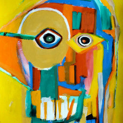 """Face Of The 21St Century #5"" (Original) By Reinder Oldenburger - This Painting Is Done In Acrylic And Oil Pastel On Thick Bristol Paper. I Use Only The Highest Quality Paints And Pastels For All My Work. This Piece Is Part Of A Series Called ""Faces Of The 21St Century"". I Sprayed The Surface With A Fixative So The Pastels Won'T Smear. This Painting Ships Carefully Packed In A Rigid Envelope And Is Ready To Be Framed."