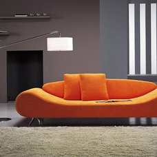 Contemporary Sofas Harmony Orange Microfiber Sofa