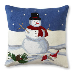"""Crewel Fabric World - Crewel Pillow Holiday Blues On White Cotton Duck 16x16 Inches - Features the exotic feel of a palampore with the handcrafted charm of early-American crewelwork.* 20"""" square * Woven of 100% cotton that is hand embroidered with wool yarn. * Envelope closure * Insert is sold separately; Down Blend or Synthetic * Dry Clean Recommended. Machine Washable * Imported"""