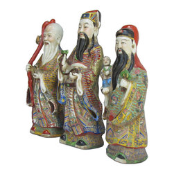 """Golden Lotus - Set/3pcs Chinese Antique Colorful Porcelain Hand Made FuLuShou Statue - This is a set of three pieces beautiful hand carving antique statue which is made of porcelain.  They represent """"Fu-Lu-Shou"""" which means Fortune/Prosperity/Longevity from right to left.  They come with very detail carving on it, look at their face, head and even their cloth."""