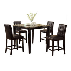 Adarn Inc. - 5 PC Dining Kitchen Set Faux Marble Table Leatherette Chair, Espresso Button Tuf - Enjoy a lovely dining experience with this counter height table featuring seating for four on a marble - look finish table framed in dark brown.