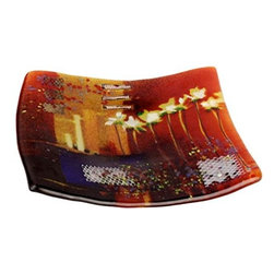 Bronze Age - Orange and Red Square Fused Plate Display - This gorgeous Orange and Red Square Fused Plate Display has the finest details and highest quality you will find anywhere! Orange and Red Square Fused Plate Display is truly remarkable.