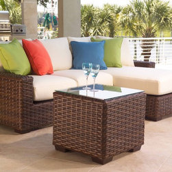 Wicker Furniture - This sectional features a durable outdoor resin wicker beautiful dark Walnut finish. The cushions can be custom ordered from 130+ different outdoor grade designer fabrics.