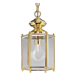 Progress Lighting - Progress Lighting P5834-10 One-Light Close-To-Ceiling With Clear Beveled Glass P - Hexagonal lantern with beveled glass. Chain and ceiling mounts both included.