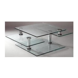 Chintaly - Square-Base Cocktail Table with Three-Tier To - Steppingstone cocktail table features a square glass base plate and three tiers. Motion styling adds a floating effect that's crafted with the unique placement of chromed columns and piers. Middle shelving swings outward from two sides for extra entertaining space. Three tier glass tops. . Square glass base. Chrome finish. 55 in. W x 32 in. L x 17 in. H. Glass thickness: 0.472 in.