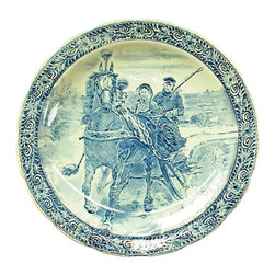 Royal Sphinx Boch - 1970 Large Delft Plate Sleigh Ride Blue - Product Details