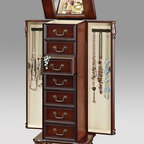 "Acme - Lopez Cherry Finish Wood Jewelry Armoire Cabinet - Lopez Cherry Finish Wood Jewelry Armoire Cabinet. This set features 2 large side doors to hold hanging jewelry, multiple drawers for jewelry and a flip top mirror with storage. Measures 16"" x 11"" x 40""H. Some assembly may be required."