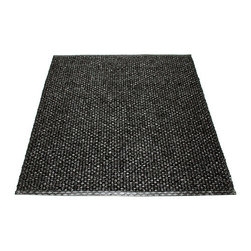 Pappelina - Pappelina SVEA Area Rug Metallic Shine, Black/Black - This  rug from Pappelina, Sweden, uses PVC-plastic and polyester-warp to give it ultimate durability and clean-ability. Great for decks, bathrooms, kitchens and kid's rooms.