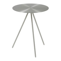 Euro Style - Fairly Side Table - Brushed aluminum finish. Powder coated base. 16 in. Dia. x 20 in. H (9 lbs.)Grand ideas for small spaces, the smooth and clean geometric shapes give your rooms a trendy, up-to-date look. The furniture design make your rooms stylish and sophisticated, symbolizing your self confidence.