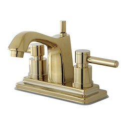 "Kingston Brass - Two Handle 4"" Centerset Lavatory Faucet with Brass Pop-up KS8642DL - Two Handle Deck Mount, 3 Hole Sink Application, 4"" Centerset, 3 hole 4"" center spread installation, Fabricated from solid brass material for durability and reliability, Premium color finish resist tarnishing and corrosion, 1/4 turn On/Off water control mechanism, 1/2"" IPS male threaded shank inlets, Ceramic disc cartridge, 2.2 GPM (8.3 LPM) Max at 60 PSI, Integrated removable aerator, 5"" spout reach from faucet body, 6"" overall height.. Manufacturer: Kingston Brass. Model: KS8642DL. UPC: 663370023569. Product Name: Kingston Brass Concord Two Handle 4"" Centerset Lavatory Faucet with Brass Pop-up. Collection / Series: Concord. Finish: Polished Brass. Theme: Contemporary / Modern. Material: Brass. Type: Faucet. Features: Drip-free ceramic cartridge system"