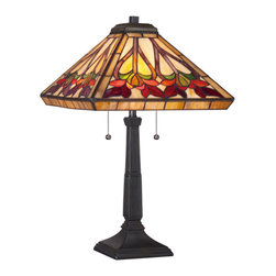 Quoizel - Quoizel Vintage Bronze Lamps - SKU: TF1509TVB - Elegant Tiffany style is a timeless staple of home decor. The various designs are hand-assembled using the copper foil technique developed by Louis Comfort Tiffany. With an enormous variety of colors and patterns to choose from, Quoizel Tiffany's have become more popular than ever.