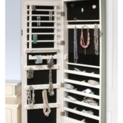 New View Gifts & Accessories Ltd. - Over The Door Organizational Mirror - Hang this piece over a door or against your wall. It looks like just a good-size mirror but it's also an organizer than can hold up to 25 lb. of jewelry.