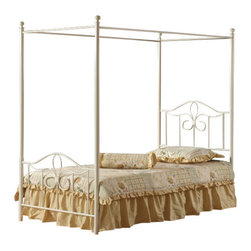 Hillsdale Furniture - Hillsdale Westfield Metal Canopy Panel Bed - Full - Perfect for a little girl's room, Hillsdale Furniture's adorable Westfield canopy bed boasts a charming arched design, sweet scrollwork, and a canopy option to create your daughter's dream bedroom. Finished in a pretty white, this bed is ideal with your current bedroom furnishings or as an eclectic metal bed to match Hillsdale's popular Westfield bedroom collection. Constructed from a sturdy heavy gauge tubular steel. Some assembly required.