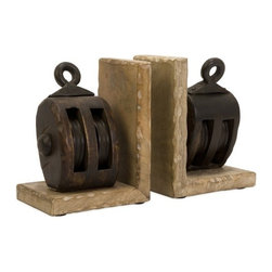 "IMAX - Mason Wood Pulley Bookends - Try out these rustic mango wood pulley bookends. Item Dimensions: (7.5""h x 6""w x 4.25"")"